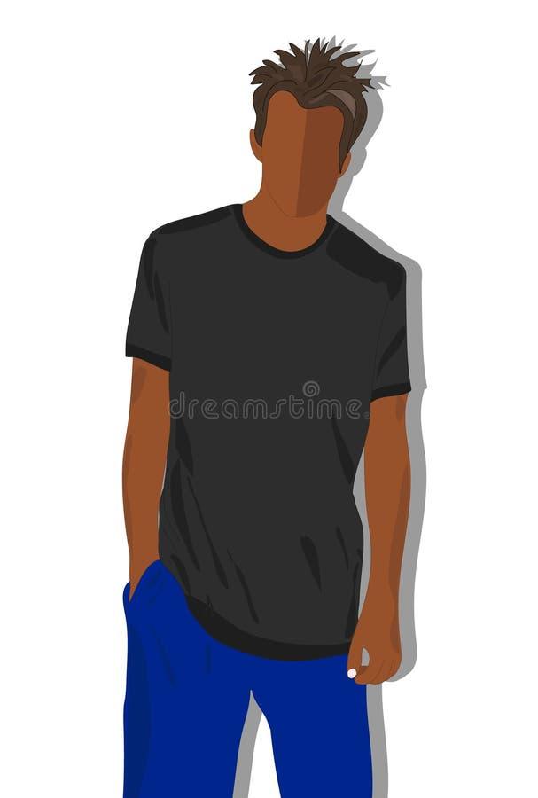 T-shirt masculin, T normalement peint illustration libre de droits