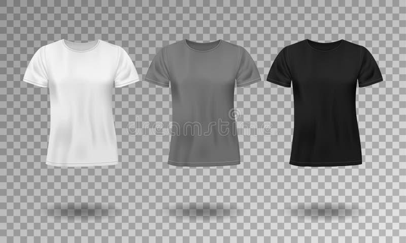 T-shirt masculino realístico do preto, o branco e o cinzento com luvas curtos Molde vazio do t-shirt isolado Camisa do homem do a ilustração do vetor