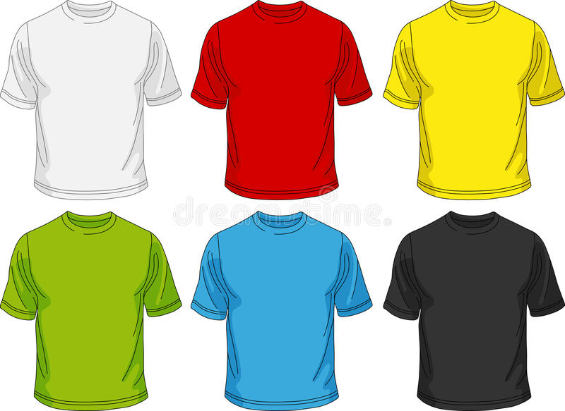 T-shirt for men. Six man T-Shirts of different colors, vector illustration. You can use for design or logo