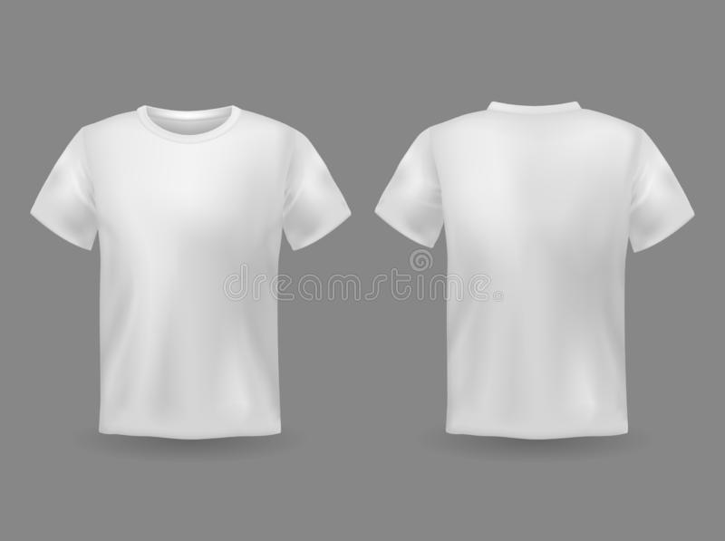 T-shirt mockup. White 3d blank t-shirt front and back views realistic sports clothing uniform. Female and male clothes stock illustration