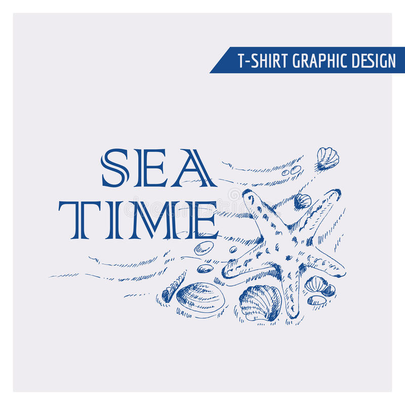 T Shirt Nautical Beach Graphic Design Stock Vector Image