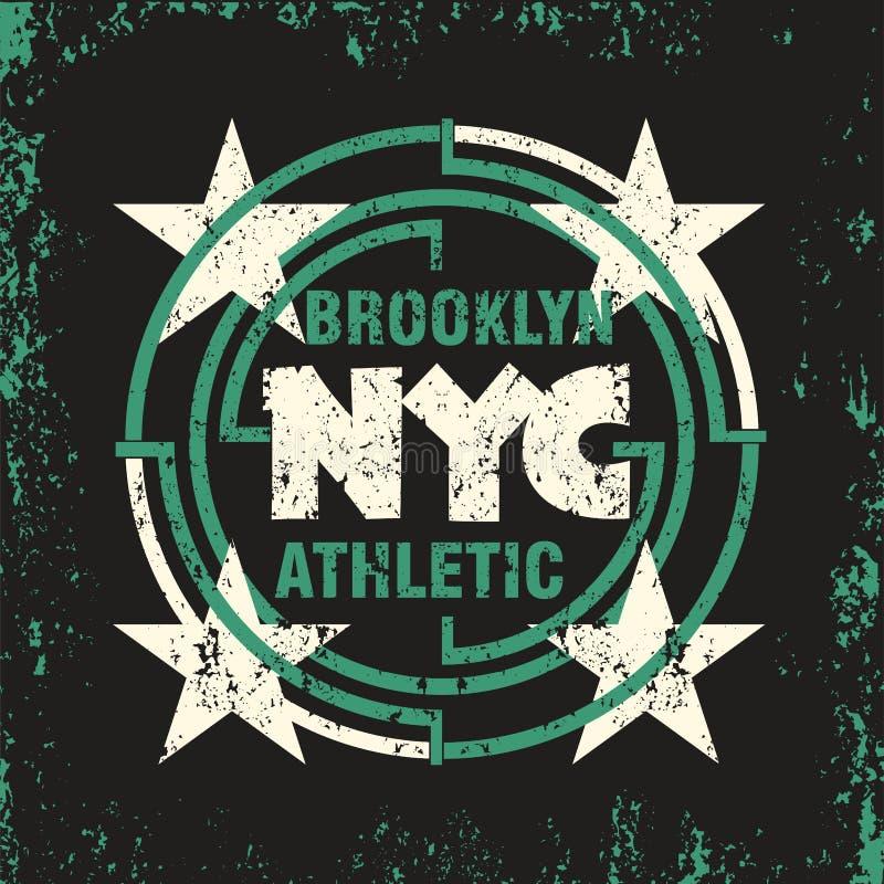 T-shirt New York Brooklyn, desgaste do esporte, emblema da tipografia do esporte ilustração do vetor