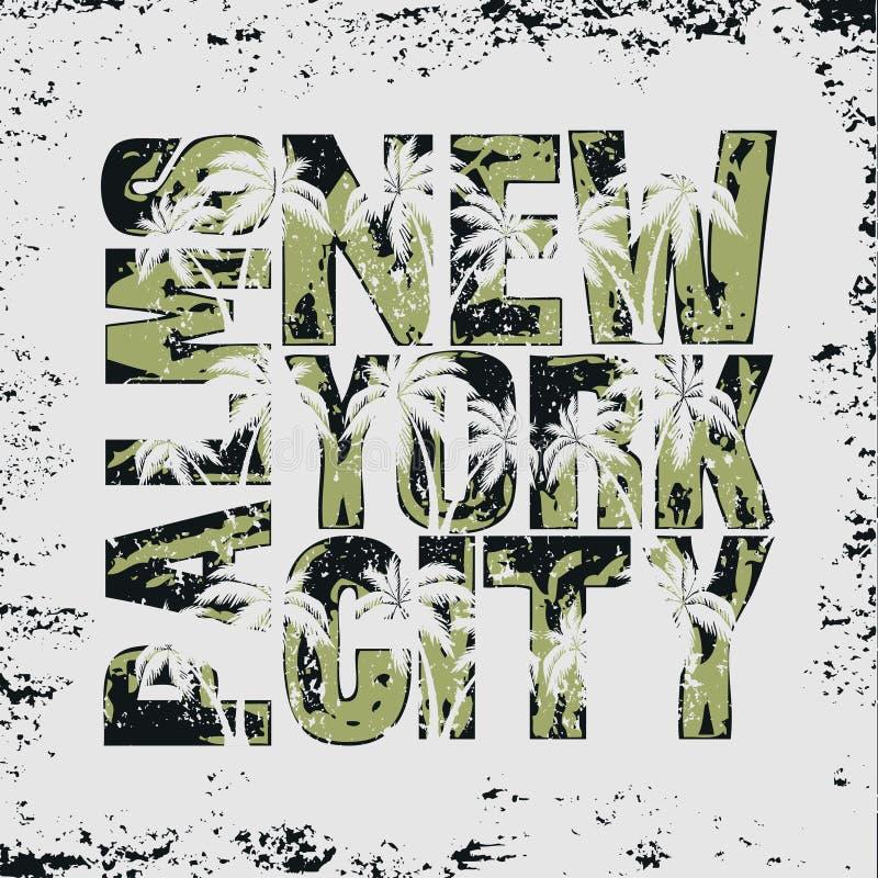 T-shirt New York, desgaste do esporte, emblema surfando da tipografia do esporte ilustração royalty free