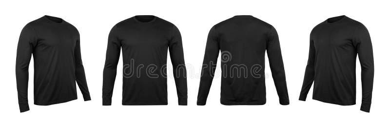 T-shirt noir de sleve de blanc long faux vers le haut du calibre, l'avant et le dos et la vue de côté, d'isolement sur le fond bl photo libre de droits
