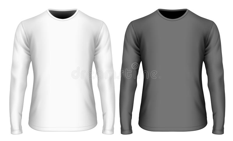 T-shirt noir et blanc de la longue douille des hommes illustration libre de droits