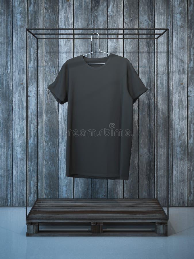 T-shirt noir vide sur le cintre rendu 3d image libre de droits