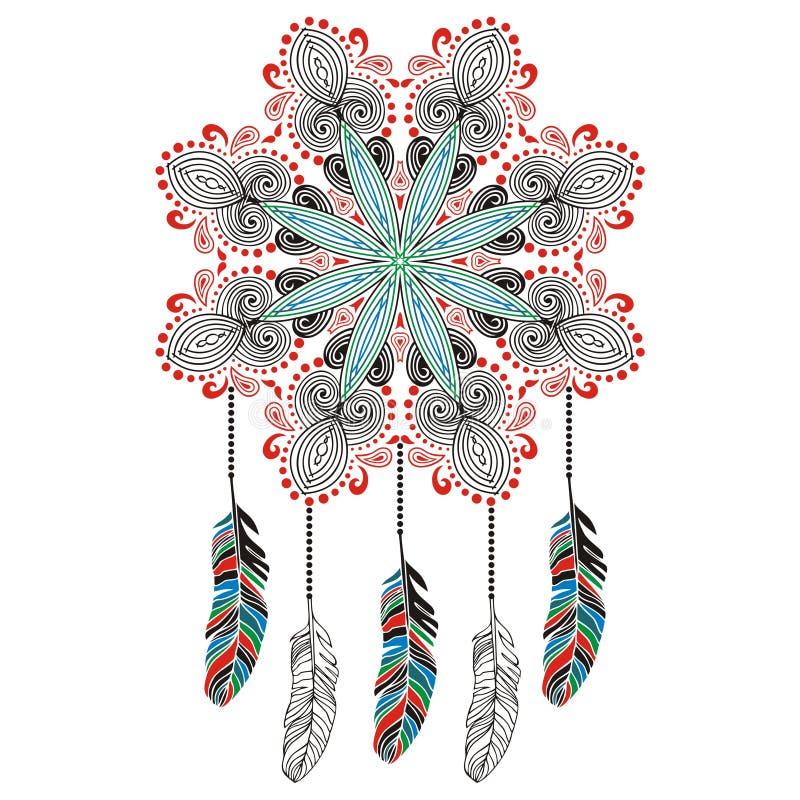 T-shirt pie d'impression de receveur rêveur, protection, Indiens d'Amerique, amulette, talisman illustration de vecteur
