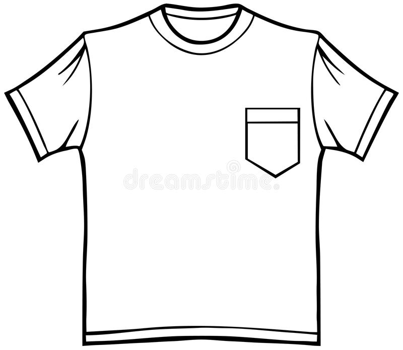 T-Shirt with Pocket. Clothing line art - t-shirt with pocket - black and white stock illustration