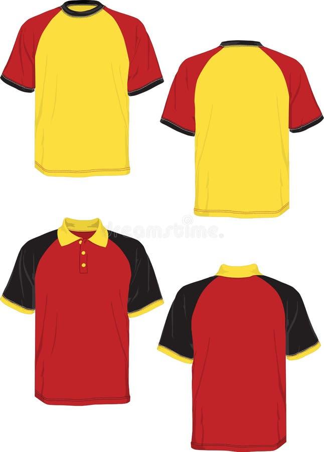 T-Shirt Polo-rote Gelbe Schwarzbaumuster Hülse. Vektor Abbildung ...