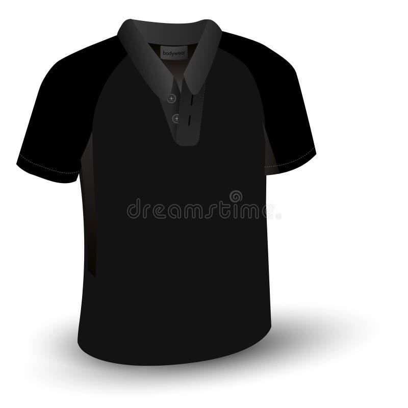 T-shirt preto do polo ilustração stock