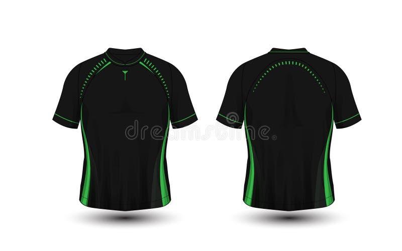 T-shirt preto e verde do esporte do futebol da disposição, jogos, jérsei, molde do projeto da camisa ilustração stock