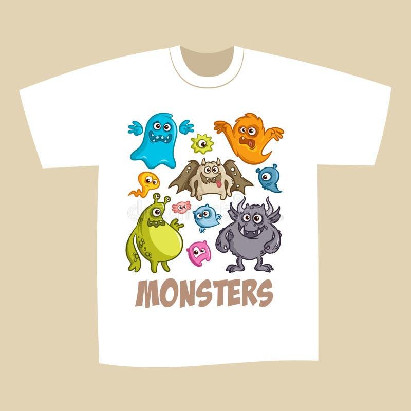 T-shirt Print Design Cartoon Cute Monsters stock illustration