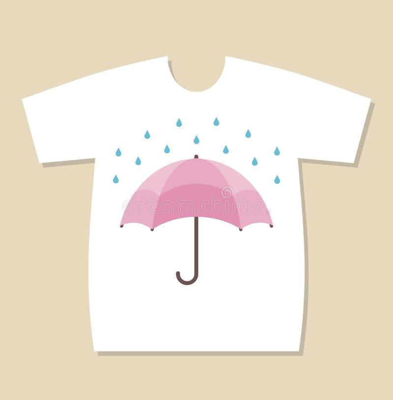 T-shirt print design with an umbrella and raindrops. T-shirt print design with an umbrella and blue raindrops royalty free illustration
