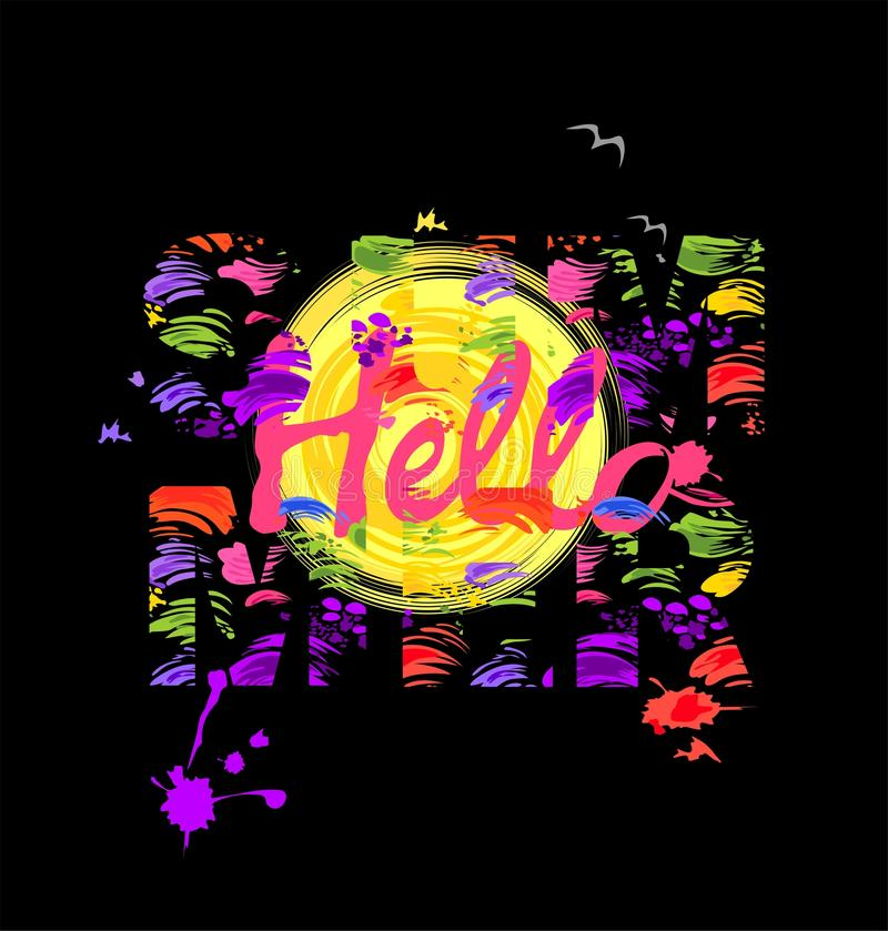 T Shirt Print With Hello Summer Painted Lettering Sun And Seagull On Black Background Stock Vector Illustration Of Print Design 108642203