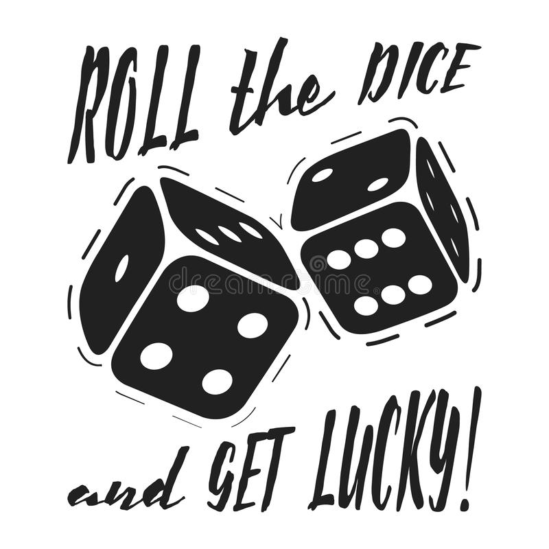 T-shirt print roll the dice and get lucky royalty free illustration