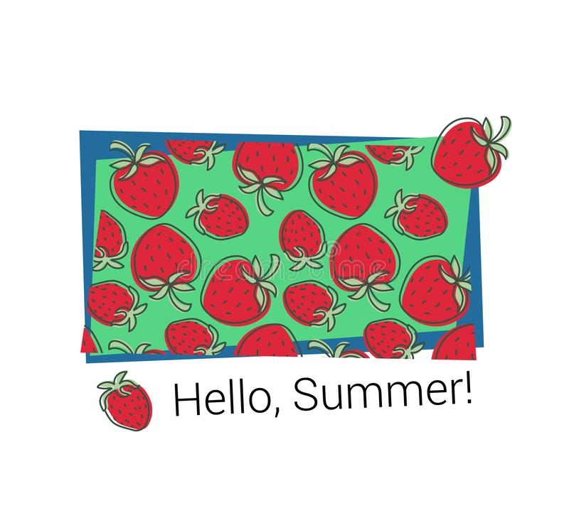 T-shirt print. Strawberry pattern. Hello summer. Vector sketch. Hand drawn fresh berry. Doodle red and green illustration. Textile stock illustration