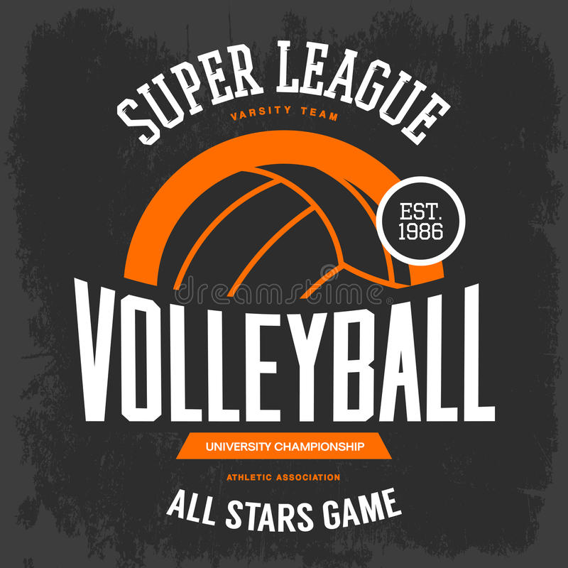 T-shirt print with volleyball ball for sport team royalty free illustration