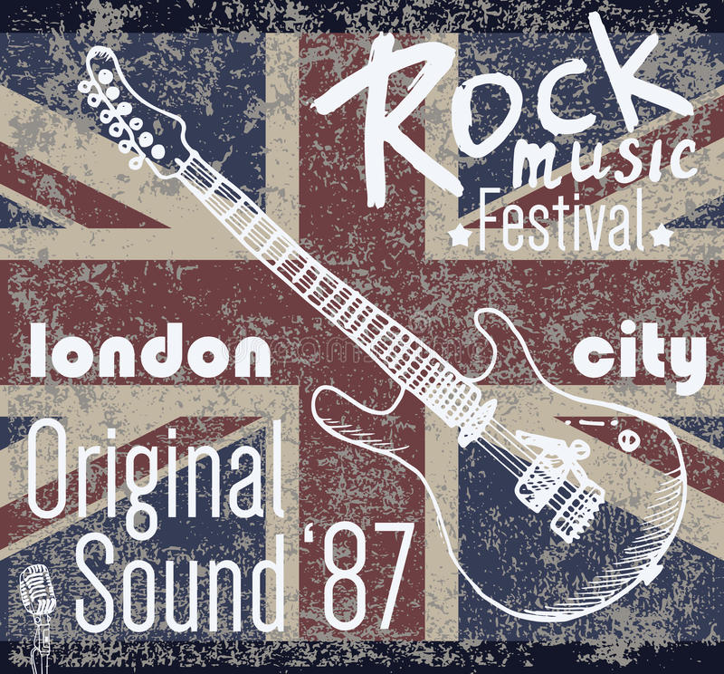Download T-shirt Printing Design, Typography Graphics, London Rock Festival Vector Illustration With  Grunge Flag And Hand Drawn Sketch Gu Stock Vector - Illustration of heavy, guitar: 61456294