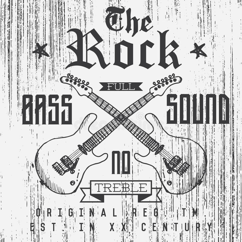 T-shirt Printing design, typography graphics, The Rock full bass sound vector illustration with grunge crossed guitars hand drawn stock illustration