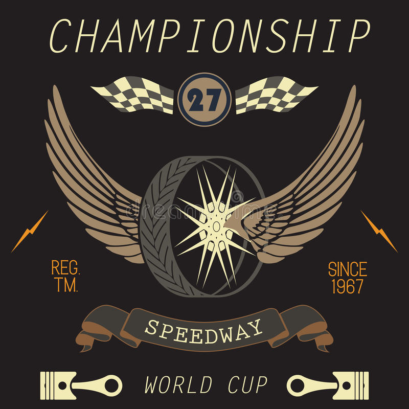 T-shirt Printing design, typography graphics, Speedway championship word cup series vector illustration Badge Applique Label.  stock illustration