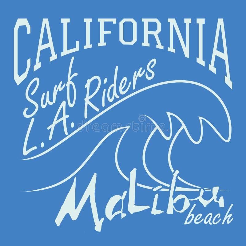 T-shirt Printing design, typography graphics Summer vector illustration Badge Applique Label California Malibu beach surf riders. L.A. sign vector illustration