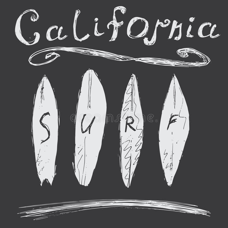 T-shirt Printing design, typography graphics Summer vector illustration Badge Applique Label California surf sign stock illustration