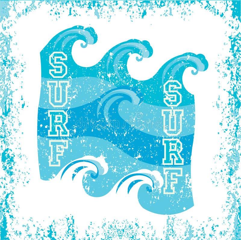 T-shirt que surfa, surfar de Miami Beach, Florida ilustração do vetor