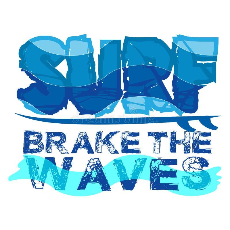 T-shirt que surfam, surfar de Miami Beach, Florida ilustração royalty free