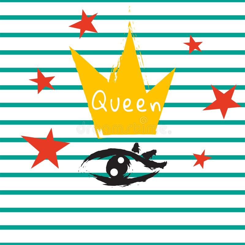 T shirt queen crown and eye striped print design. vector illustration