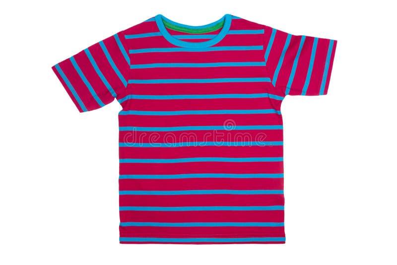 T-shirt rayé d'isolement sur le blanc photos stock