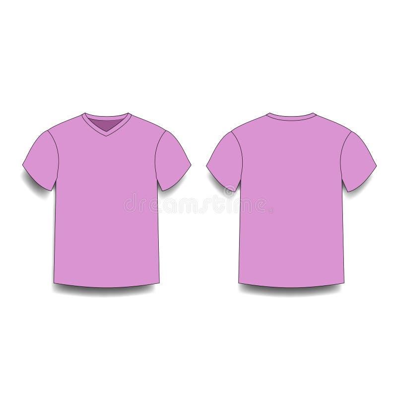 T-Shirt Rose Ansichten der vorderen und Rückseite des männlichen Schablonenvhalses stock abbildung