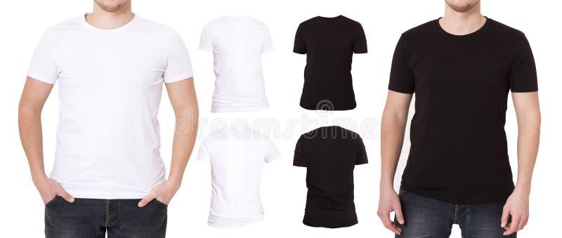 T-Shirt Satz lokalisiert auf weißem Hintergrund Hintere und Vorderansicht Hemden Schablone, leerer Kopienraum und Spott oben auf  lizenzfreie stockfotos