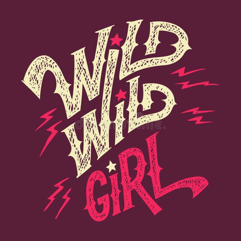 T-shirt selvagem selvagem da mão-rotulação da menina ilustração stock