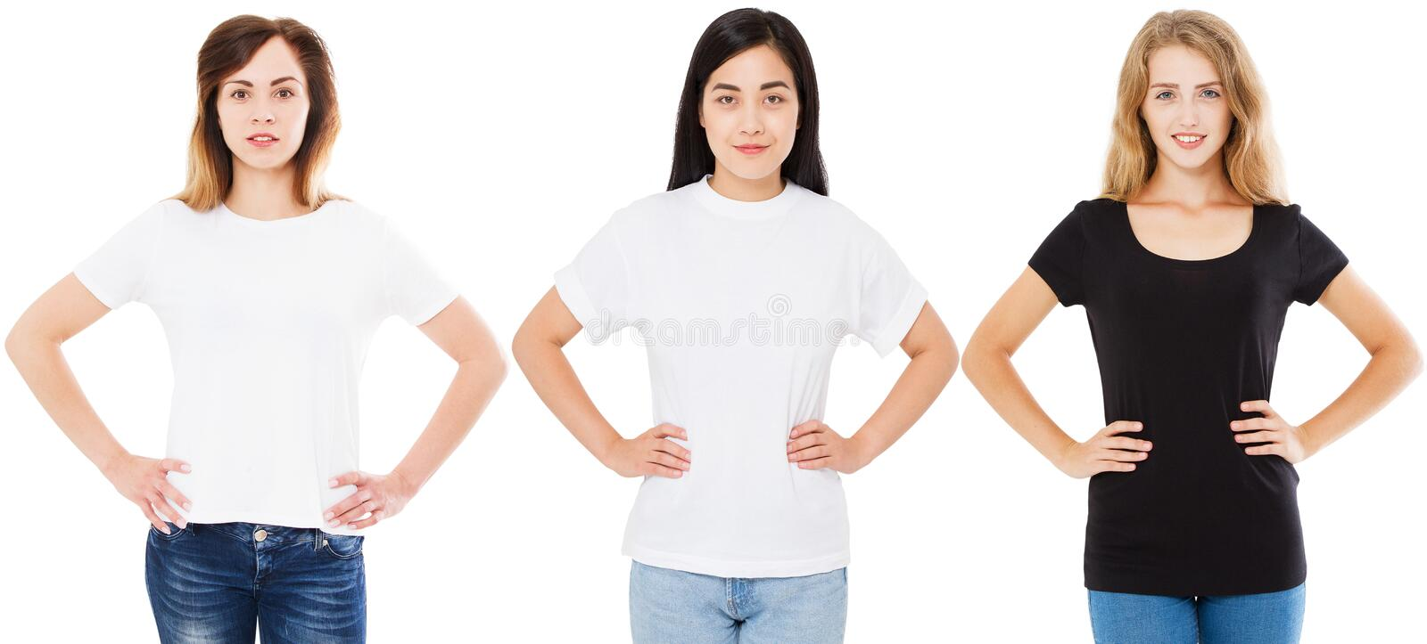 T-shirt set,blank,women with hands on the belt,asian korean and white woman in t shirt isolated. Black white and long sleeve. T-shirt set,blank,women with hands stock image