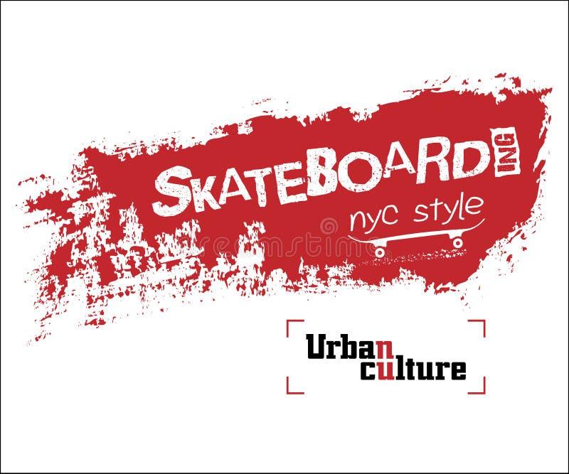 T-shirt skateboarding de NYC ilustração stock