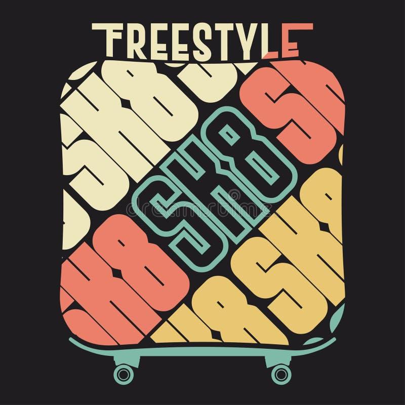 T-shirt Skateboarding, projeto gráfico do emblema da cópia da tipografia ilustração do vetor