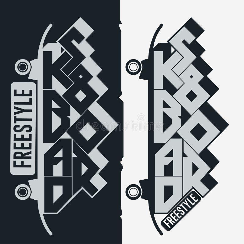 T-shirt Skateboarding, projeto gráfico do emblema da cópia da tipografia ilustração stock