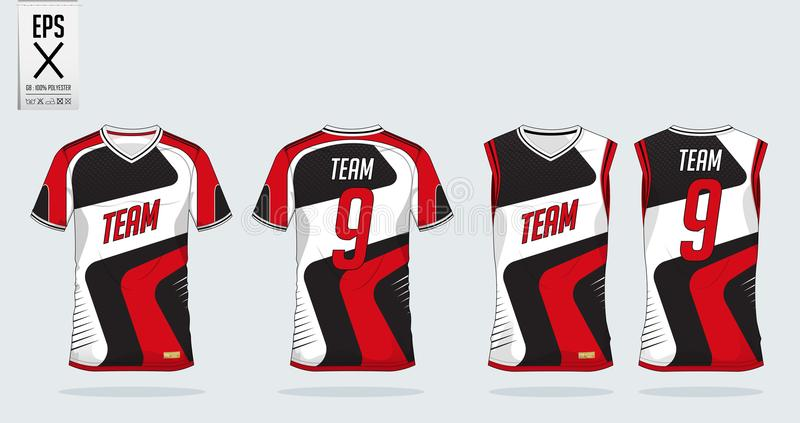 T-shirt sport design template for soccer jersey, football kit and tank top for basketball jersey. Uniform in front and back view. vector illustration
