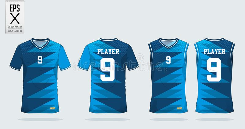 T-shirt sport design template for soccer jersey, football kit and tank top for basketball jersey. Uniform in front and back view. T-shirt sport design template royalty free illustration