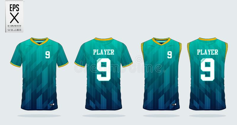T-shirt sport design template for soccer jersey, football kit and tank top for basketball jersey. Uniform in front and back view. Blue and green gradient T stock illustration