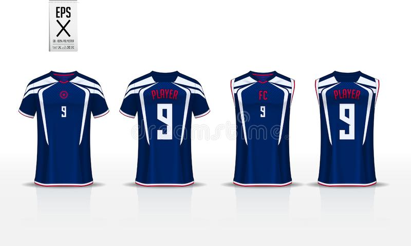 T-shirt sport design template for soccer jersey, football kit and tank top for basketball jersey. Uniform in front and back view. T-shirt sport template design stock illustration