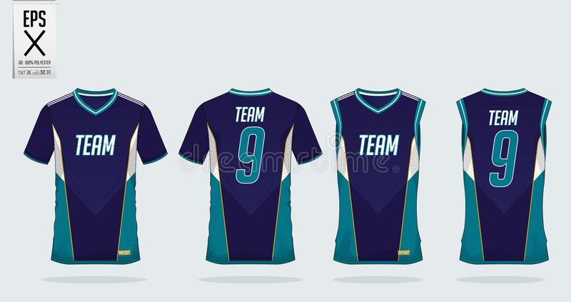 T-shirt sport design template for soccer jersey, football kit and tank top for basketball jersey. Uniform in front and back view. royalty free illustration
