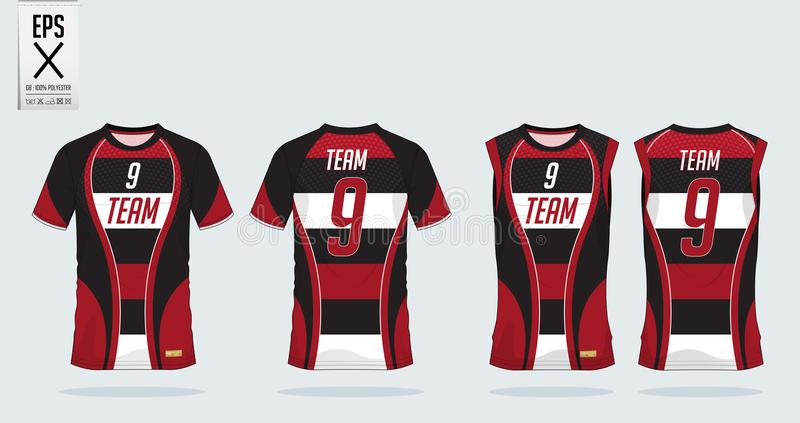 T-shirt sport design template for soccer jersey, football kit, tank top for basketball jersey. Uniform in front view back view. T-shirt sport template design stock illustration
