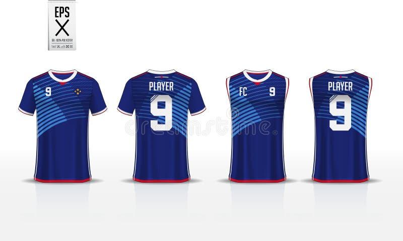 T-Shirt Sport-Designschablone für Fußballtrikot, Fußballausrüstung und Trägershirt für Basketballtrikot Uniform in der Front und  stock abbildung