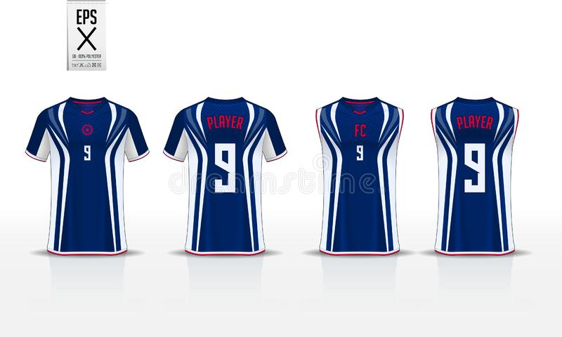 T-shirt sport design template for soccer jersey, football kit and tank top for basketball jersey. Uniform in front and back view. T-shirt sport template design vector illustration