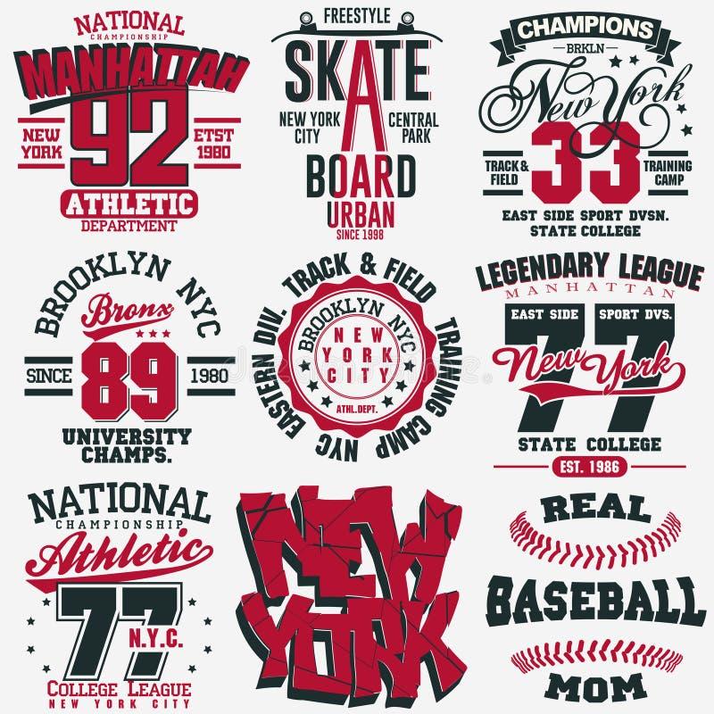 Free T-shirt Stamp Graphic Set. Sport Wear Typography Emblem Royalty Free Stock Photos - 130230588