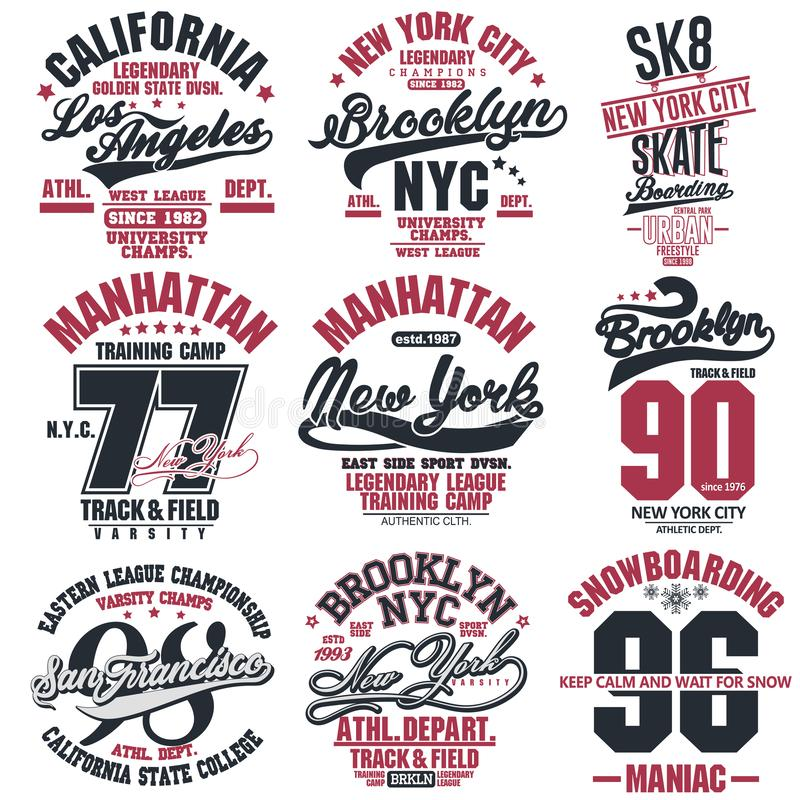 Free T-shirt Stamp Graphic Set. Sport Wear Typography Emblem Stock Images - 136128684