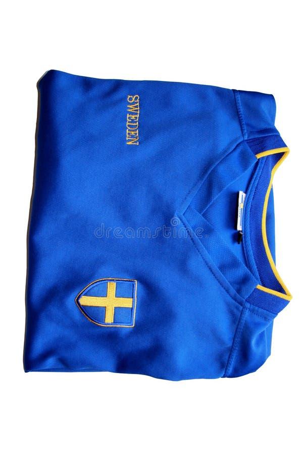 T-shirt sueco do futebol foto de stock
