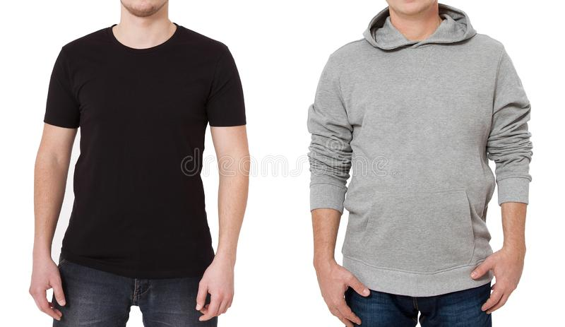 T shirt and sweatshirt template. Men in black tshirt and in grey hoody. Front view. Mock up isolated on white background. Copy. Space. Place for print. Cropped royalty free stock images