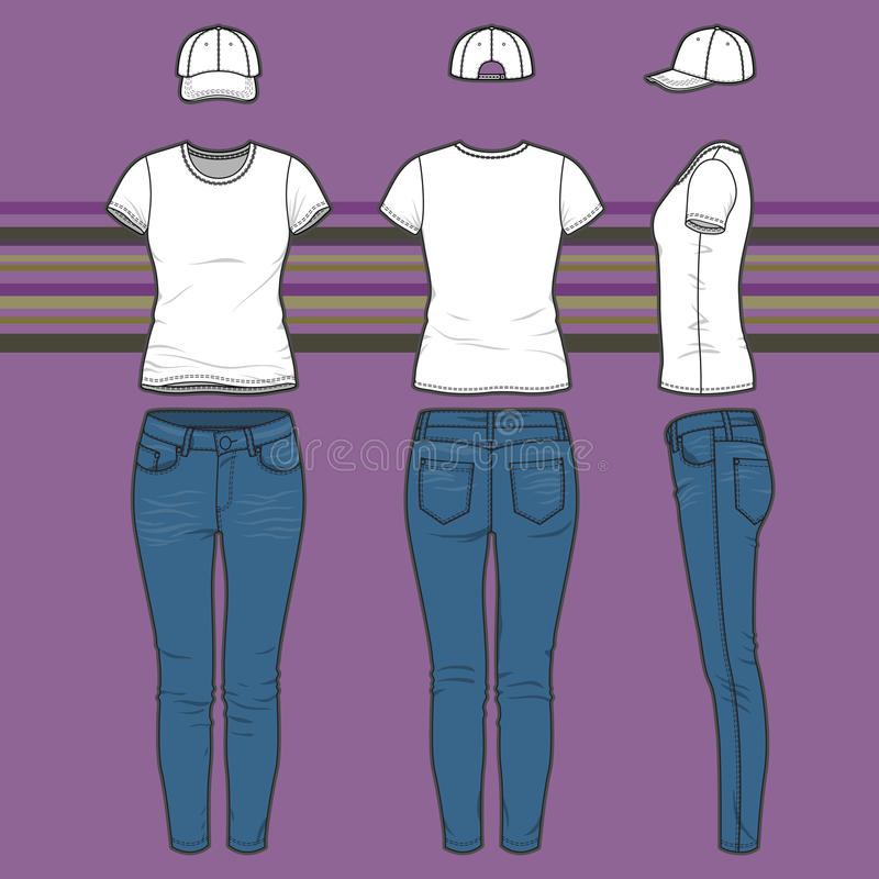 T-shirt, tampão e calças de brim ajustados ilustração do vetor